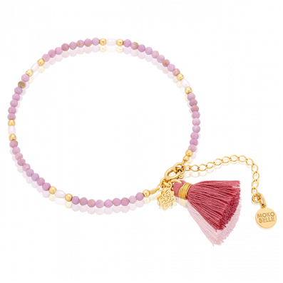 Bracelet with phosphosiderite and pearls with a tassel