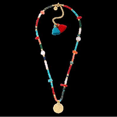 Kolorowy naszyjnik z medalikiem Mokobelle i dwoma chwostami