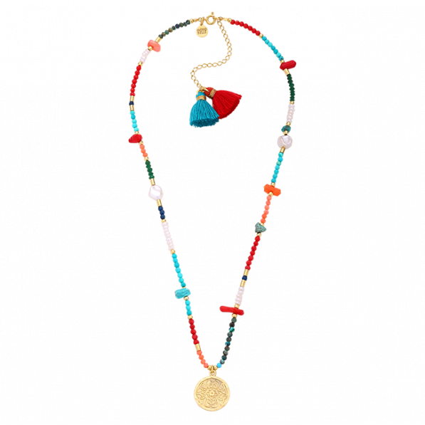 Colourful necklace with Mokobelle medallion and two tassels