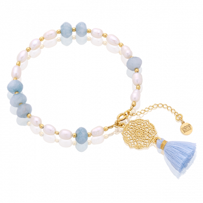 Pearl and jade bracelet with Estella rosette and tassel