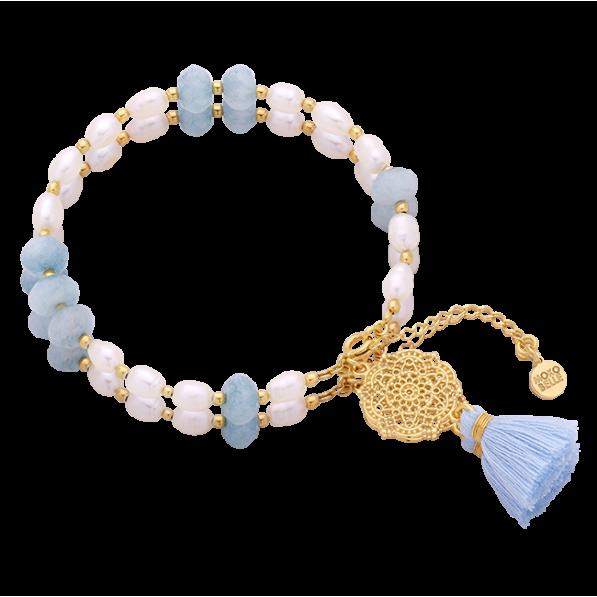 Pearl and jade bracelet with Estella rosette and tassel