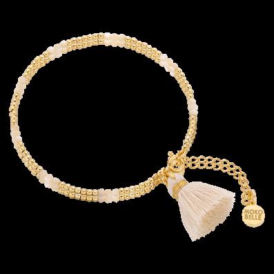 Bransoletka z masy perłowej i pozłacanych kuleczek z chwostem