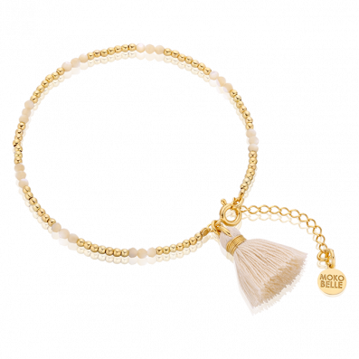 Pearl mass and goldplated beads bracelet with a tassel