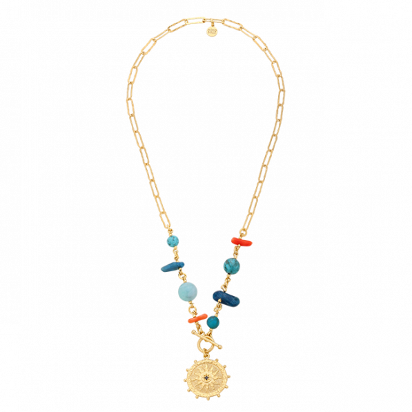 Chain necklace with natural stones and Solaris rosette