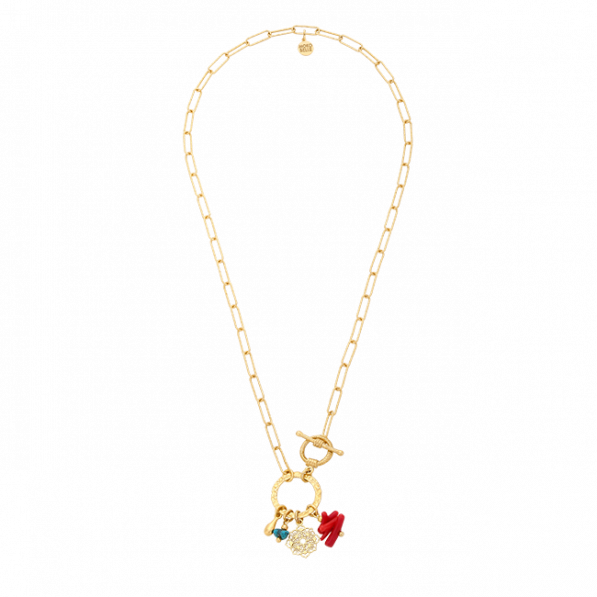 Chain necklace with circle and pendants