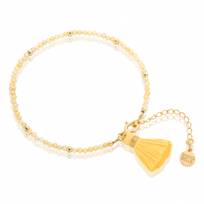 Zirconia bracelet with yellow tassel