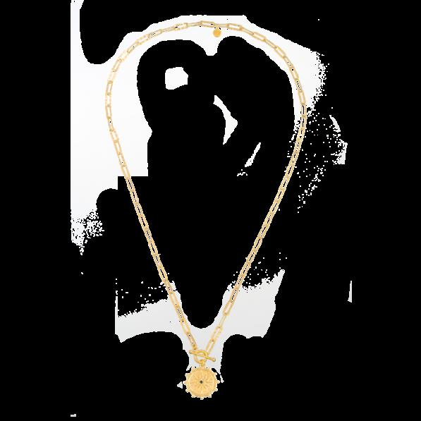 Naszyjnik łańcuch z rozetą Solaris i ozdobnym zapięciem