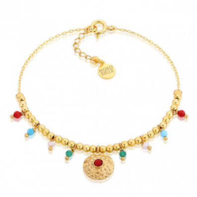 Gold plated beads bracelet with a coral pendant