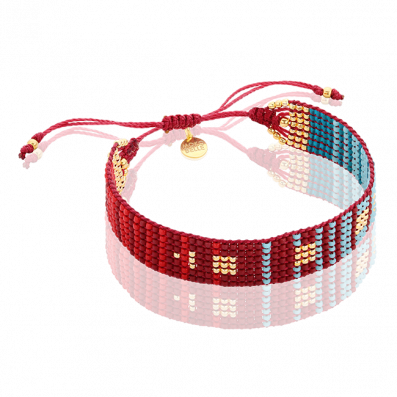Red and turquoise woven beaded bracelet