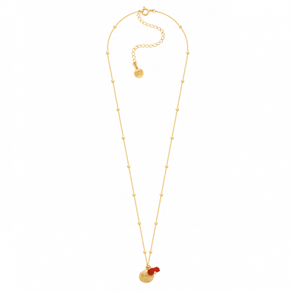 Chain necklace with gold-plated beads and seashell
