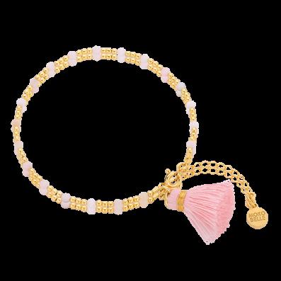 Opal bracelet with pastel pink tassel