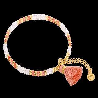 Bransoletka z perełek i koralowców z chwostem