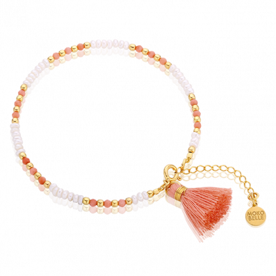Pearl and coral bracelet with a tassel