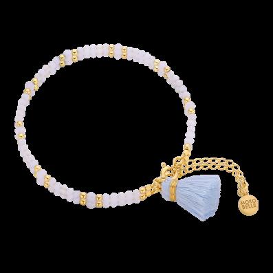 Chalcedony bracelet with a pastel blue tassel