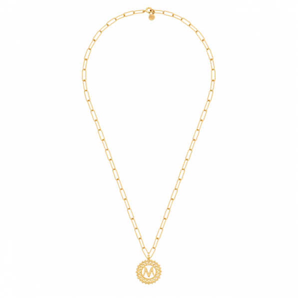 Chain necklace with a rosette with a letter