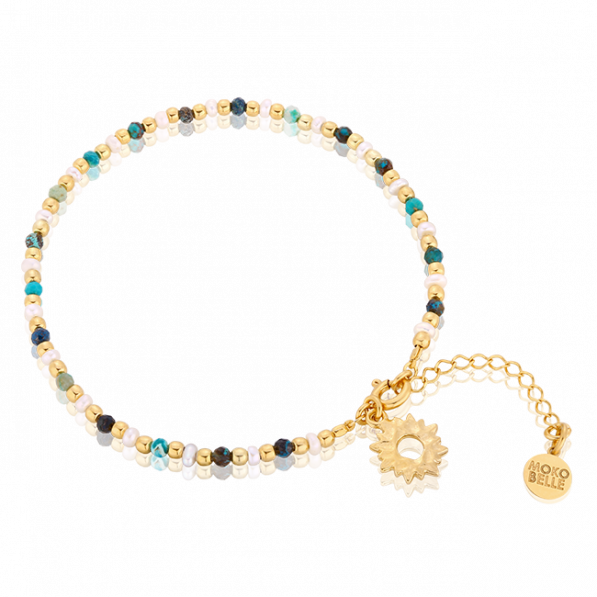 Chrysocolla and pearl bracelet with sunshine pendant