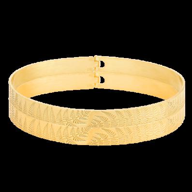 Hoop bracelet with fern pattern
