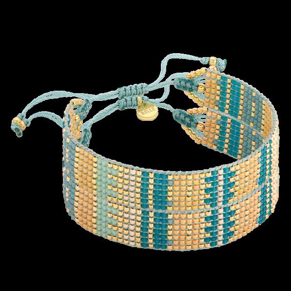 Green and gold beaded bracelet