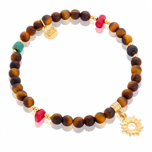 Bracelet with a tiger eye and a sun-shaped pendant