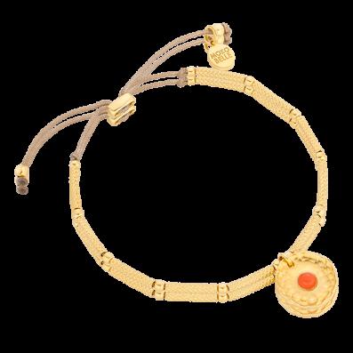 Bransoletka sznureczek z pozłacanymi rurkami i rozetką z koralowcem