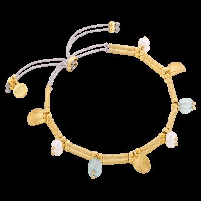 Bransoletka sznureczek z pozłacanymi elementami i perełkami