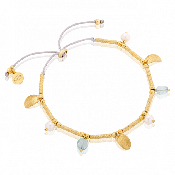 Beaded bracelet with gold-plated elements and pearls
