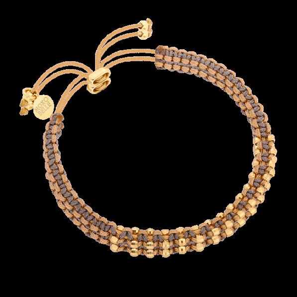 Grey beige braided bracelet